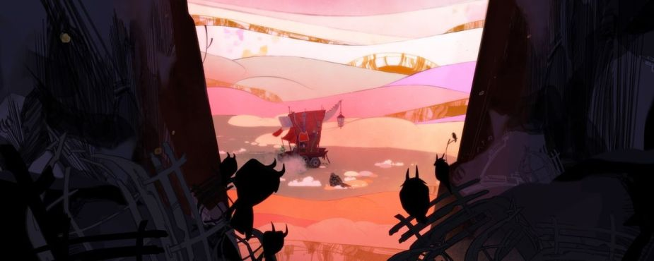 In the foreground, dark abstract shapes cut into the left 1/3rd and right 1/3rd of the image, with a few silhouetted horned birds sitting on branches. In the foreground, the middle 1/3rd of the image, a red covered wagon with a ramshackle aesthetic and a lantern hanging off what looks like a bone giving structure to the top of the wagon drives through dunes of pink and orange.