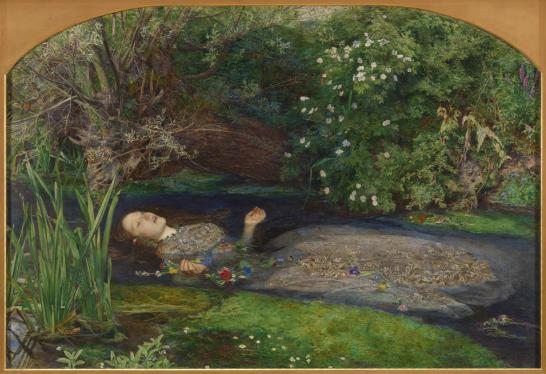 "John Everett Mallais's painting ""Ophelia,"" which depicts the character from ""Hamlet"" floating, dead, in a stream with lush greenery around her and flower floating above her."