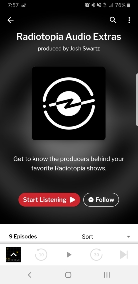 A screenshot from an android phone showing the RadioPublic feed for Radiotopia Audio Extras.